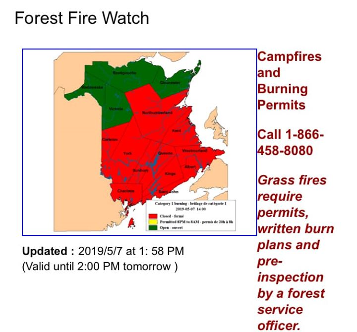 """""""We're still red, so your fires should be dead!"""" Check NB FOREST FIRE WATCH…"""